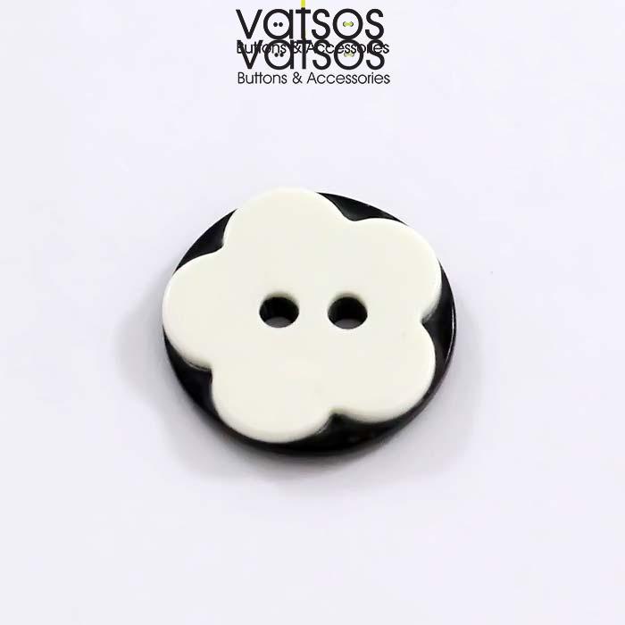 Πολυεστερικό κουμπί με σχέδιο μαργαρίτα