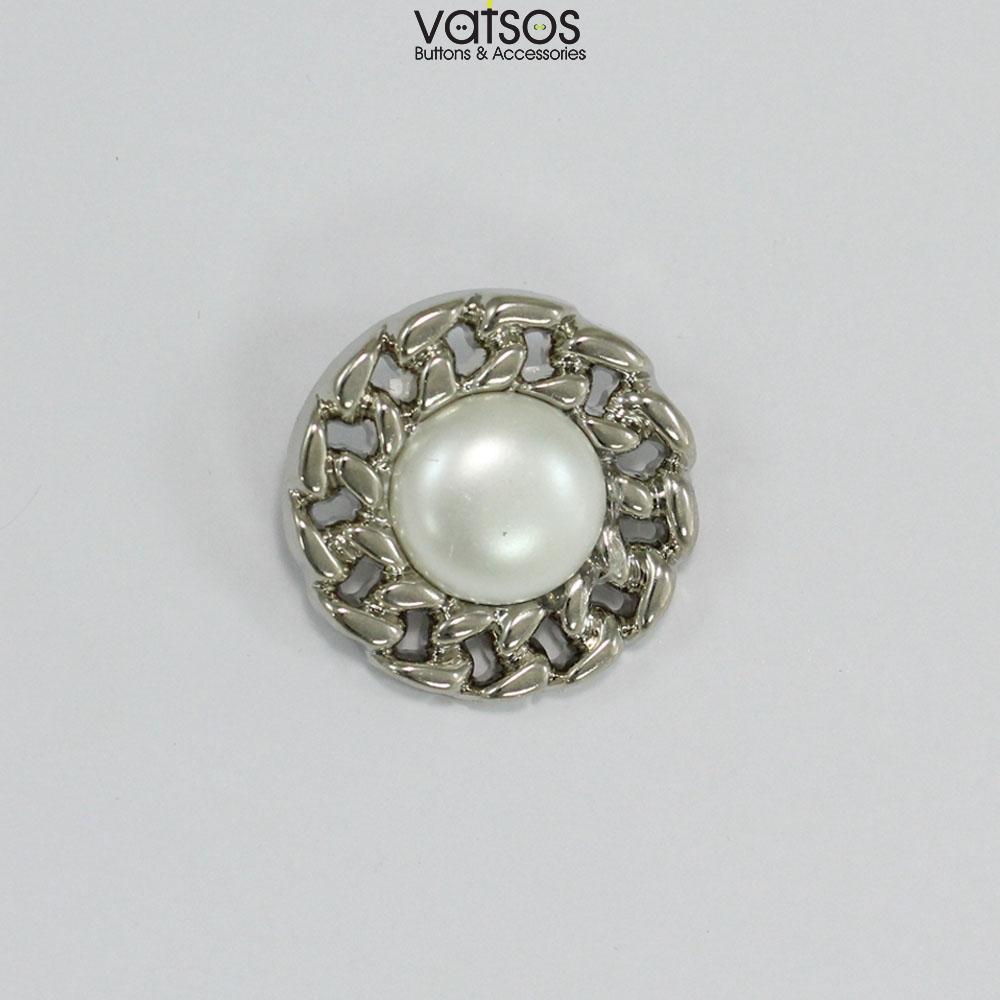 Πλαστικό κουμπί σκαλιστό με πέρλα