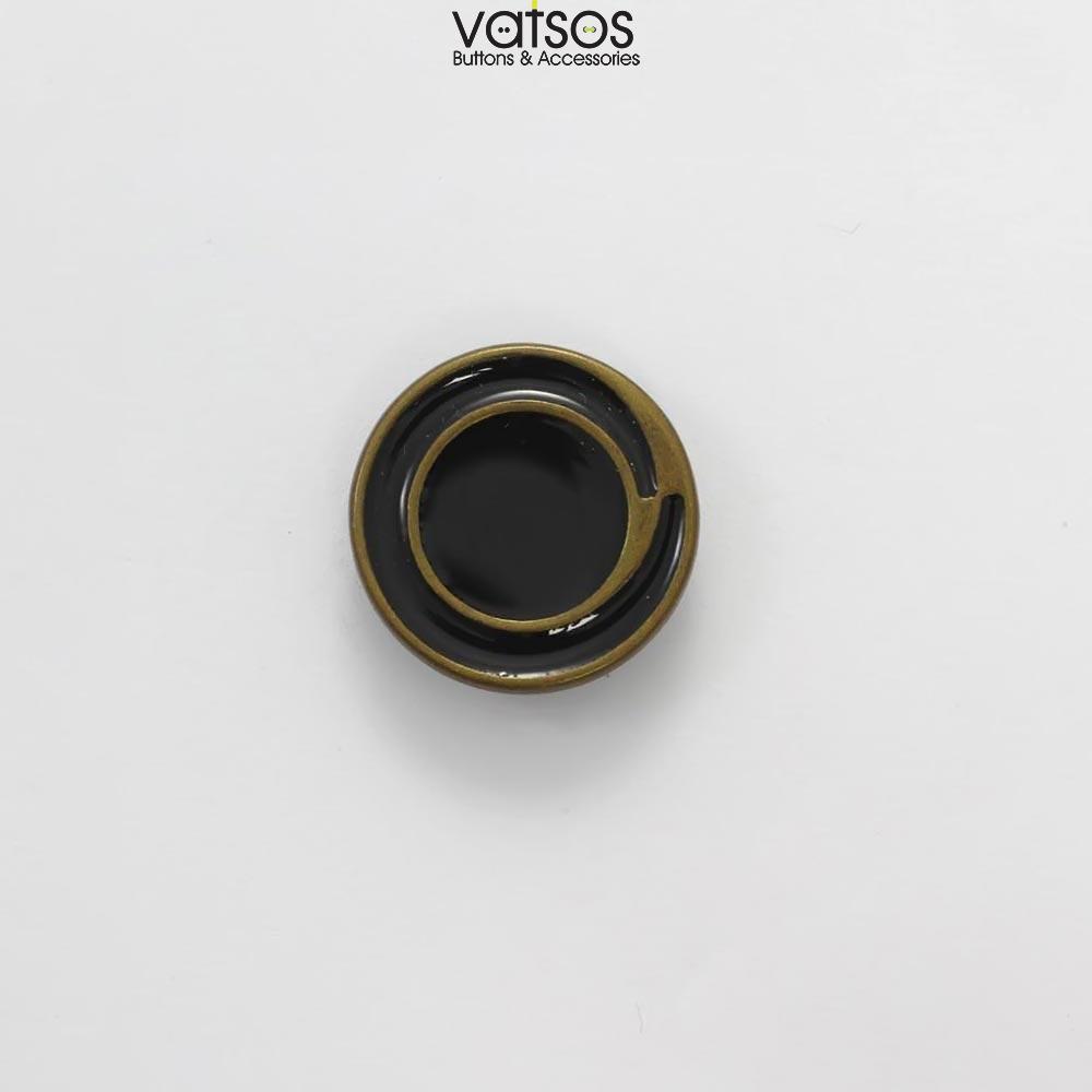 Μεταλλικό κουμπί με μαύρο σμάλτο